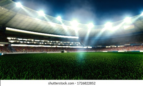 Night football arena in lights close up. soccer stadium.
