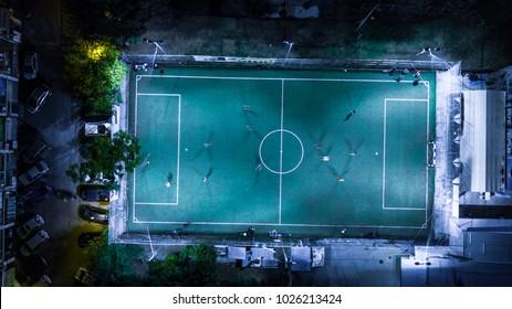 night football / soccer field aerial view