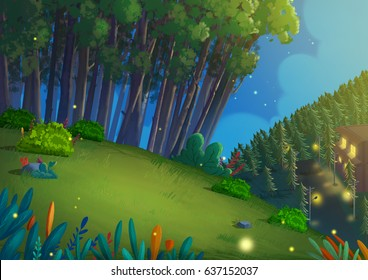 Night Forest. Video Game's Digital CG Artwork, Concept Illustration, Realistic Cartoon Style Background