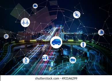 night freeway background and smart transportation, abstract image visual