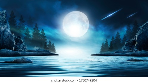 Night futuristic seascape. Reflection of the moon on sea water. Large stones, rocks on the shore, trees. Rays of meteorites, neon blue light. Night landscape, islands. - Shutterstock ID 1730749204