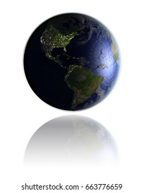 Night globe with city lights facing Americas hovering above white reflective surface. 3D illustration with detailed planet surface. Elements of this image furnished by NASA.