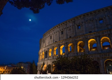 Night at the Great Roman Colosseum (Coliseum, Colosseo), also known as the Flavian Amphitheatre with lights & illumination.
