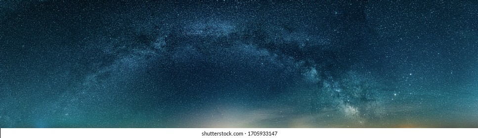 Night HDR panorama of Milky Way on night Starry