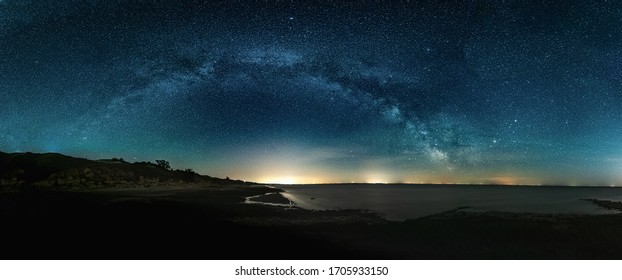 Night HDR panorama of Milky Way on night Starry
