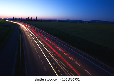 night highway, bypass of the city Kolín, Czech republic, European Union,