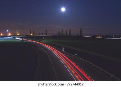 night highway, full noon