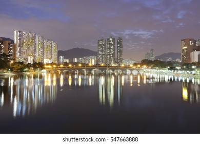 Night Hong Kong and the bridge over the canal 2016