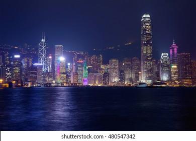 Night Hong Kong Night Hong Kong island is glowing with rainbow lights.