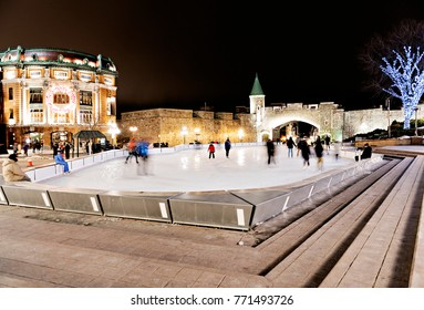 A Night ice skating scene from Place d'Youville quebec