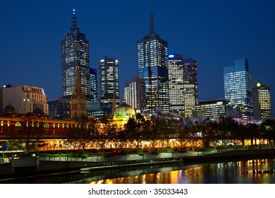 Night illumination in center of Melbourne city