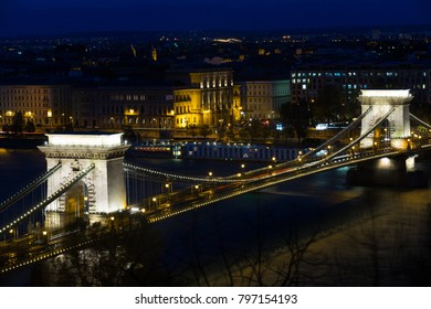 Night illumination of Chain Bridge in Budapest in Hungary.
