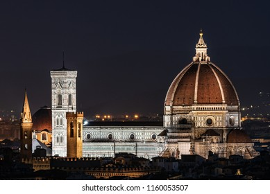 Night image of the Florence Cathedral, formally the Cathedral of Santa Maria del Fiore is the cathedral of Florence, Italy (Duomo di Firenze) horizontal image