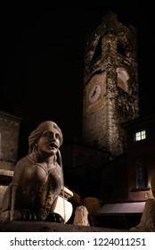 Night image of the fountain in Piazza Vecchia, the Sphinx of the Contarini fountain in the center of the square in Bergamo Alta, in the background the Civic Tower also called Campanone