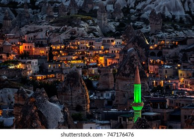 Night image from Goreme, Cappadocia with the famous fairy chimneys.