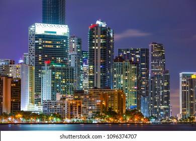 Night image of a metro city Miami