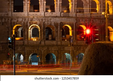 Night images of the exterior of the coloseum, also known as Il Coloseo, in Rome, Italy.