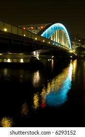 night iron-bridge and reflection in river, Eitaibashi, Tokyo - Shutterstock ID 6293152