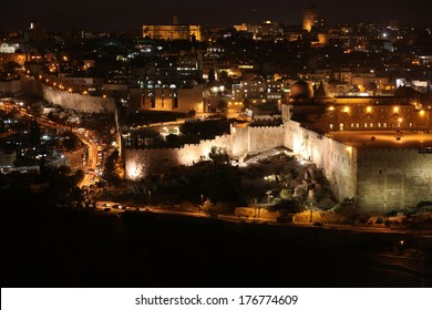 Night in Jerusalem old city, Temple Mount with Al-Aqsa Mosque, view from the Mount of Olives, Israel