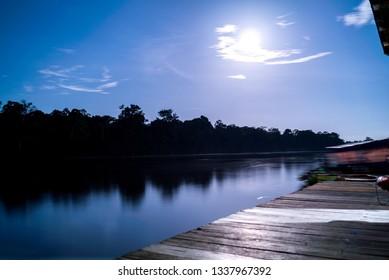 Night in Juma Lake, Amazonia.