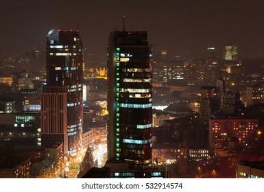 Night Kiev city center view from the height, Kiev, Ukraine