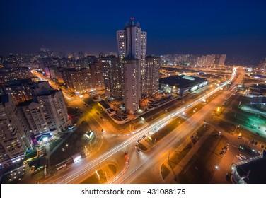 Night Kiev city view, panorama Kiev, Ukraine