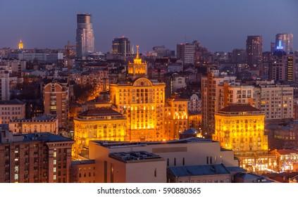 Night Kiev city view, panorama of old bulding Kiev, Ukraine