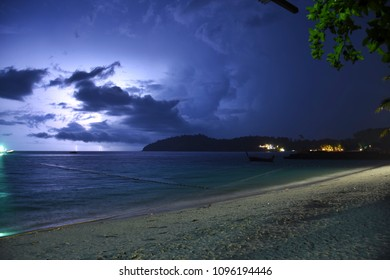 The night at koh Lipe in Thailand,Rain clouds and lightning.
