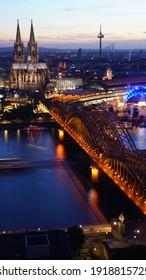 Night Kologne.Germany.  City scapes.Night City.City Lights.