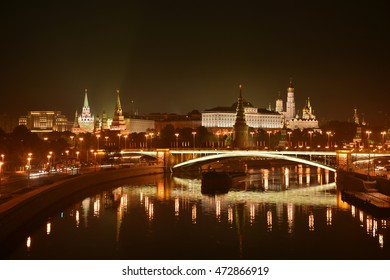 "Night Kremlin on the banks of the river ""Moscow"". Panorama of night city."