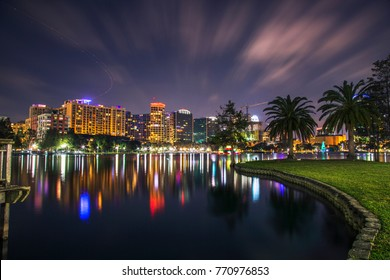 Night at Lake Eola Orlando, Florida. Long Exposure photography in a beautiful night.