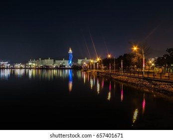 night in lake, wooden bridge,  south korea, night scape