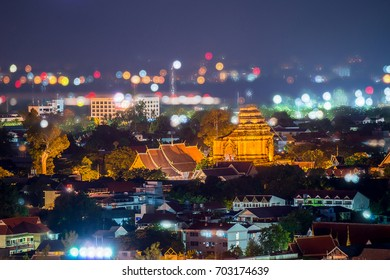 Night landscape of ancient pagoda at  Wat Chedi Luang temple 700 years in Chiang Mai, Asia Thailand (Temple),Chiang Mai, Thailand : Selective focus on pagoda.