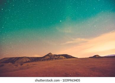 Night landscape in the Bardenas Reales, Navarra.