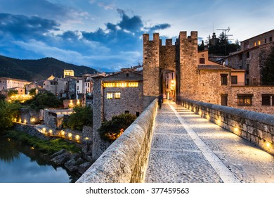Night landscape from the Besalu medieval village entry, Costa Brava. Spain.