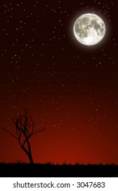 Night landscape with big moon, a silhouette of a tree tree and a red sky covered of stars