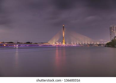 Night Landscape Bridge Rama 8 in Bangkok Thailand