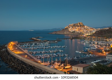 Night landscape of Castelsardo in Sardinia, Italy