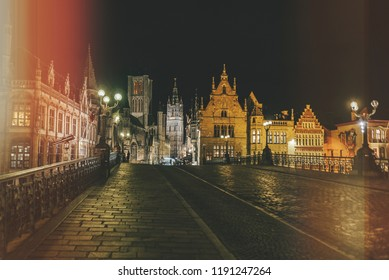 Night landscape of the city Ghent in Belgium
