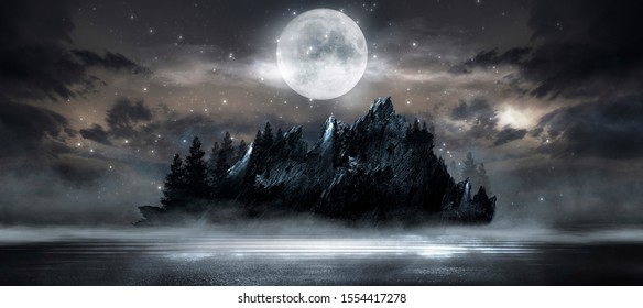 Night landscape, dark forest, river. Night sky, mountains. Reflection in the water of moonlight. Dark natural background.