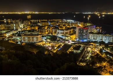 Night landscape in Gibraltar, UK.