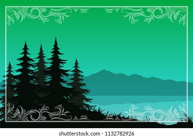 Night Landscape, Green Mountains Lake or River, Fir Trees Black Silhouettes and Frame with a Floral Pattern.