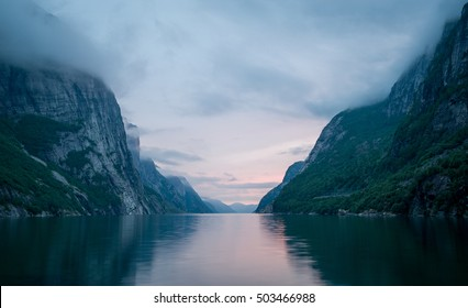 Night landscape of Lysefjord. Fairy tale of Norway fjords nature.