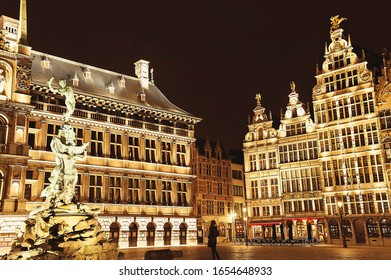 Night landscape of main market square in Antwerp, Belgium with a lot of lights on guildhouses and other buildings. Antwerpen famous popular tourist travel destination.