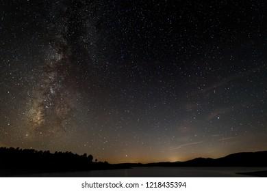 Night landscape with Milky Way near Granadilla. Extremadura. Spain.
