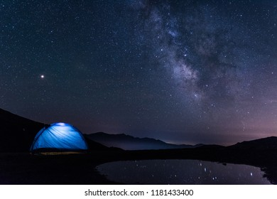 Night landscape with the Milky Way over the mountain - Colle di Tenda - Cuneo - Italy