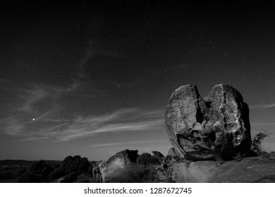 Night landscape with moonlight in the Barruecos Natural Area. Extremadura. Spain.