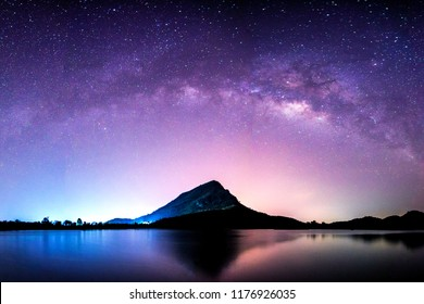 night landscape mountain and milky way  galaxy background , thailand , long exposure ,low light