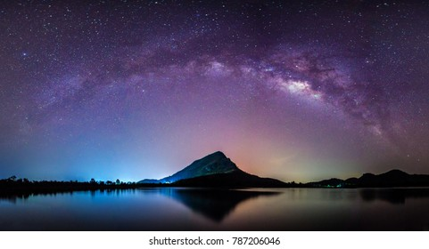 night landscape mountain and milky way  galaxy background our galaxy, thailand , long exposure , low light
