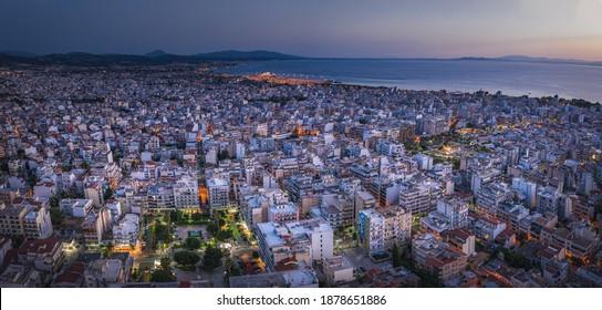 Night landscape of Patras, Achaia, Peloponnese, Greece. Panorama